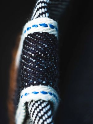 Blue and white selvedge, in the Blaumann colors