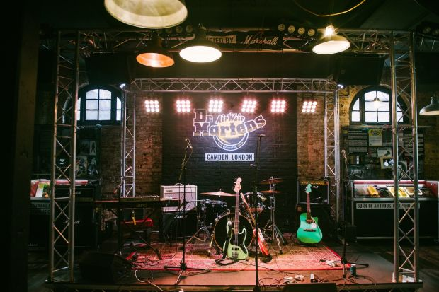 "Dr. Martens' Camden store ""Boot Room"" doubles as a permanent gig."