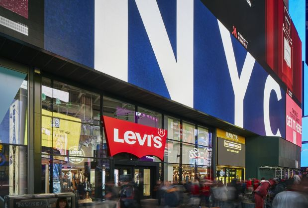 Store front of Levi's new NYC flagship