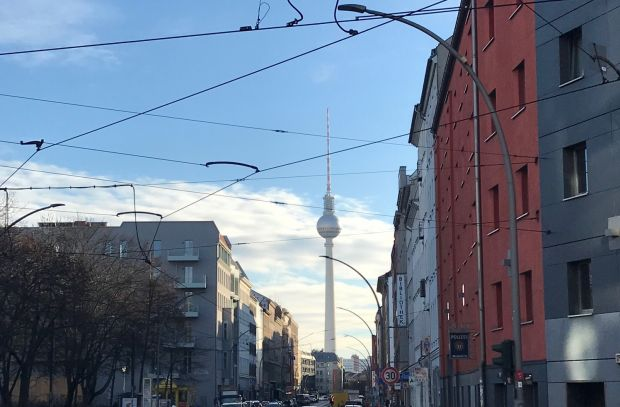 View of the famous Berlin television tower