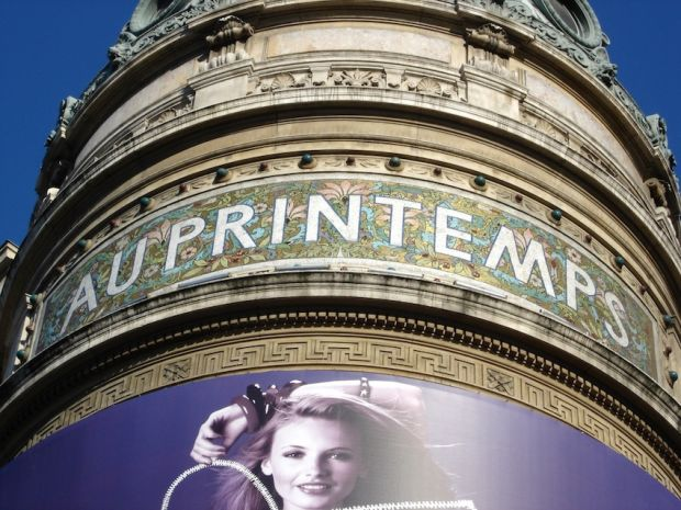 Exterior of Le Printemps department store in Paris