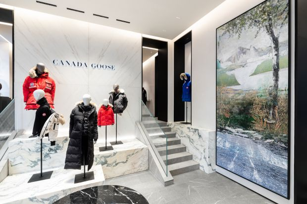 Inside view of the Canada Goose store