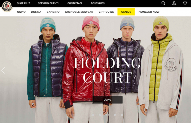 A screenshot of the Moncler website, one of the most polluting ones according to a study by Avant Grade