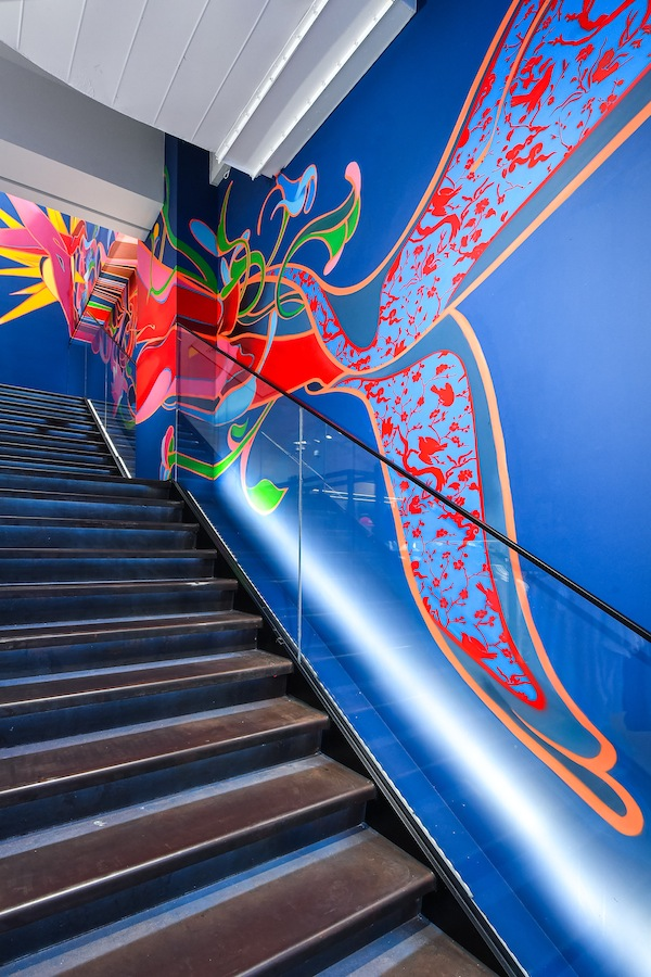 Staircase with mural art by Chinese artist Sheep Chen
