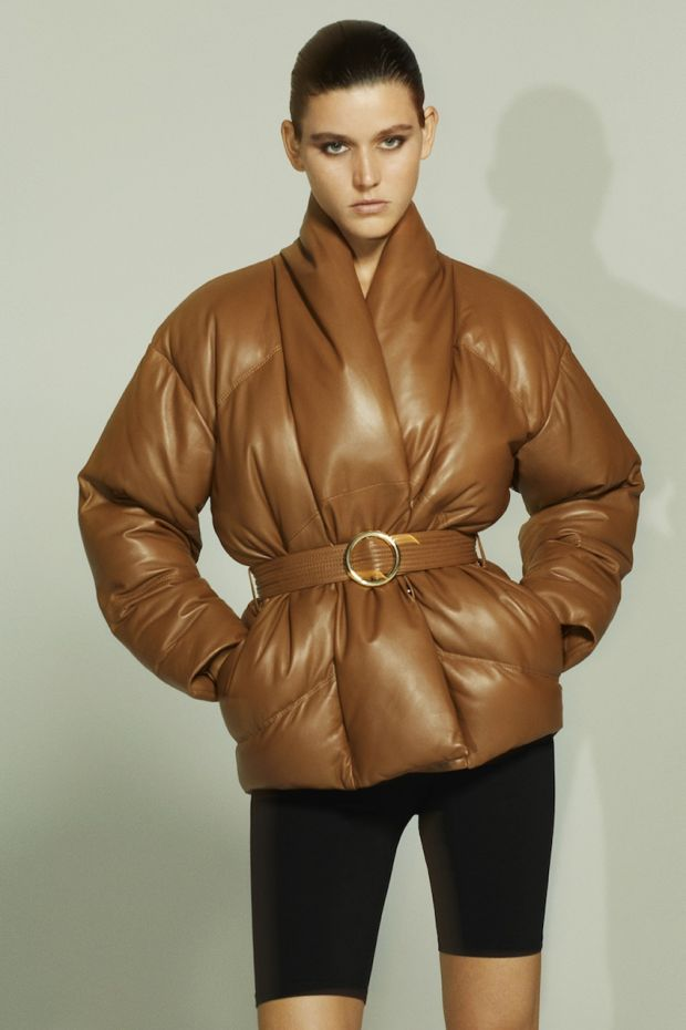 Puffer jacket made with Frame's new Responsible Leather