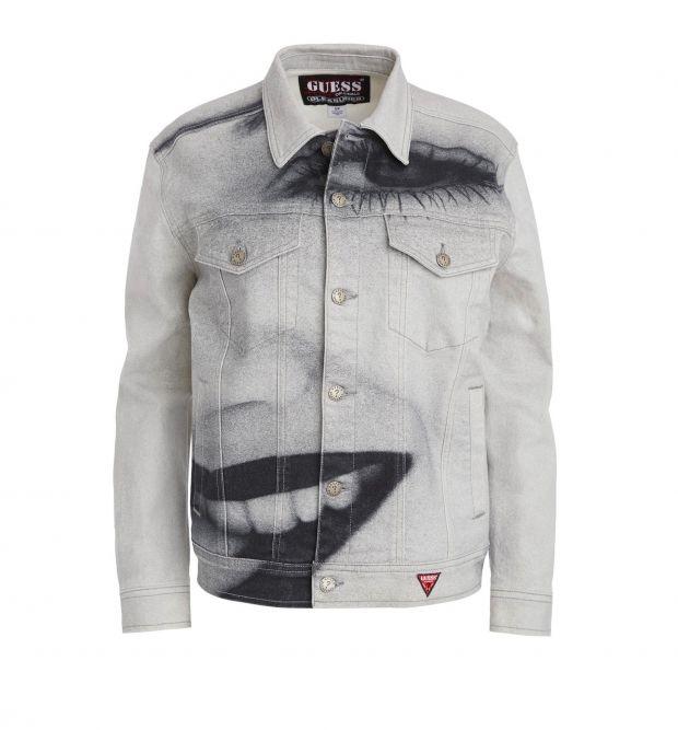 Jacket of the Guess Originals x Pleasures Drew Barrymore capsule