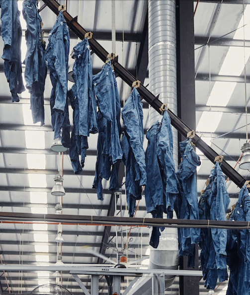 Drying jeans at Saitex factory in Vietnam