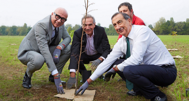 At Gucci's first forestation event held in Milan in October 2019 with Rete Clima ONG at the presence of (from left): Gucci's Marco Bizzarri, Camera Nazionale della Moda Italiana's Carlo Capasa and Milan's Mayor Giuseppe Sala