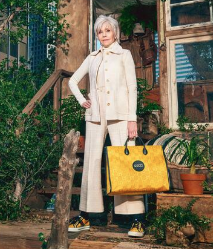 Actress Jane Fonda in Gucci's 'Off The Grid' campaign promoting items made of recycled nylon