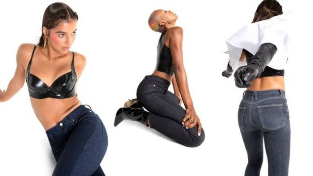 Styles of Good American's 'Always Fits' jeans created with Calik Denim