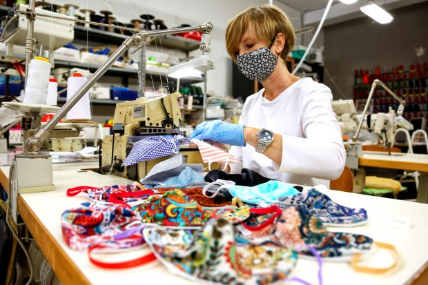 During the Corona pandemic, many companies decided to modify their production to meet their customers need. Tiziana Scaramuzzo, owner of a small artisan workshop based in Senigallia, centre Italy, produces a bikini with a combined mask.