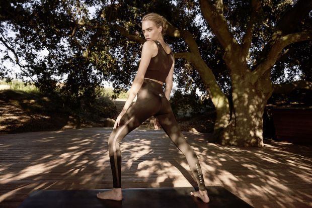 Exhale yoga line made in collaboration with model and climate activist Cara Delevingne