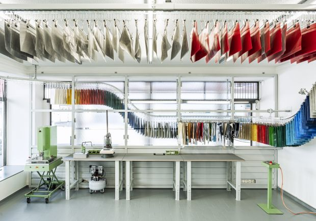 Freitag Sweat-yourself-shop workspace in Zurich