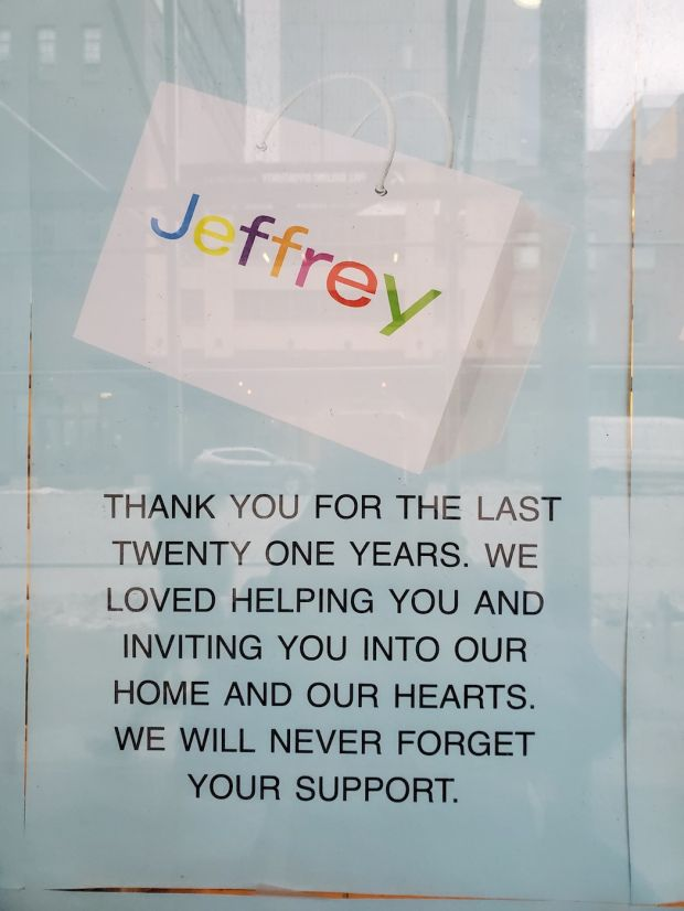 Window sign at Jeffrey