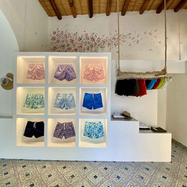 Swimwear on display in Kampos' Panarea store