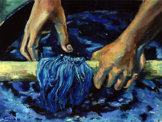 'Hands & Yarns', oil painting by Olga Guarch, available at Kingpins' web shop