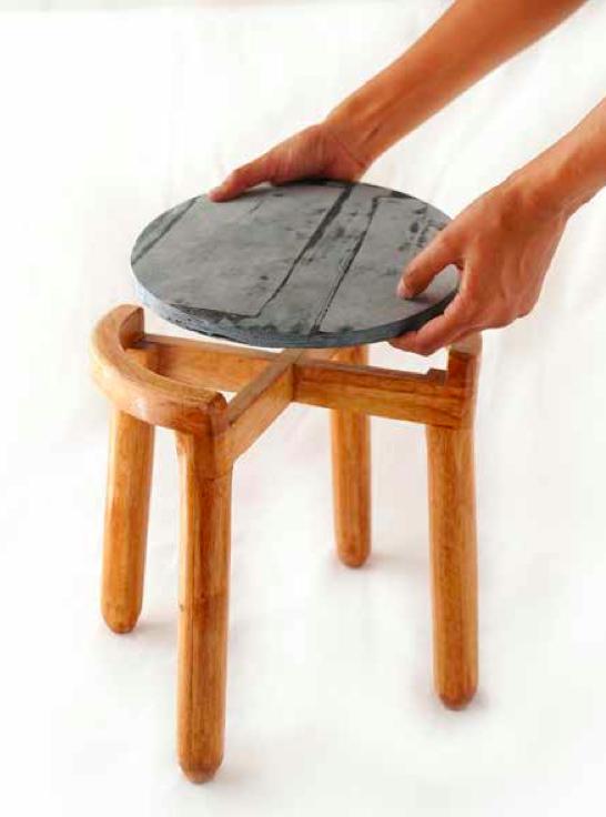Leftover strips mashed to make denim bricks used for a stool