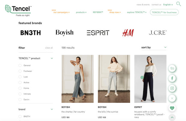 A screenshot of Tencel's e-shop