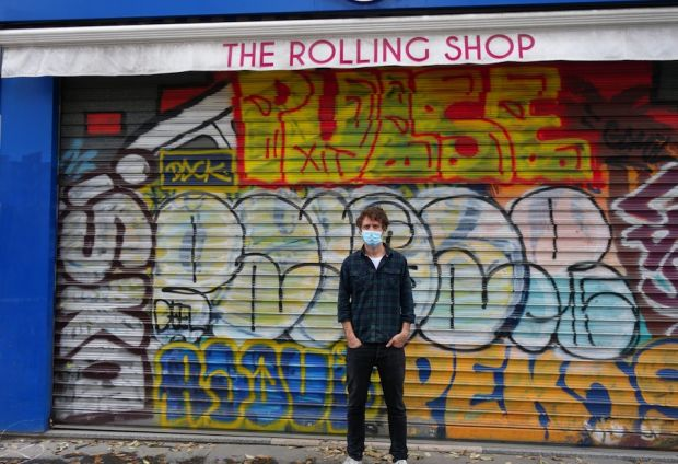 Guillaume Robin in front of his now closed The Rolling Shop