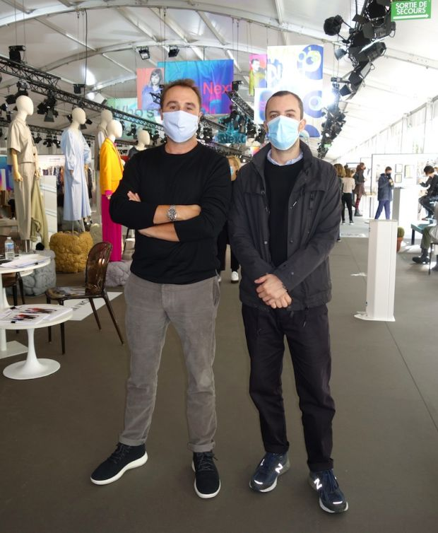 Frédéric Maus (l.), general director of WSN, and Antoine Floch, co-founder of Man/Woman, at the Paris trade shows beginning of October