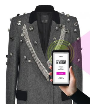 Pinko Reimagine item being scanned with Verified by Virgo technology by Temera
