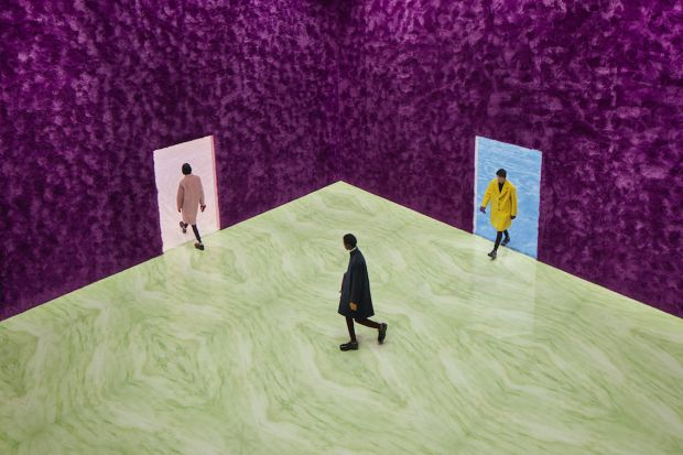 Prada f/w '21 menswear show: All decors of the fashion show materials were reused or donated to Meta, a circular economy project based in Milan.