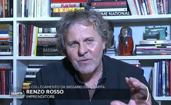 A shot of Renzo Rosso Speaking during Italy's talk show Quarta Repubblica