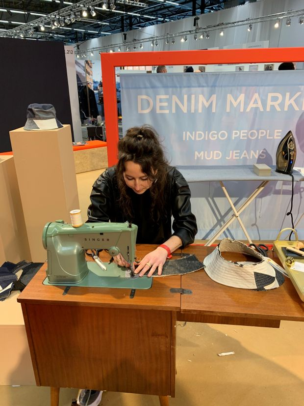 Designer Leonie Vlaar at her sewing machine