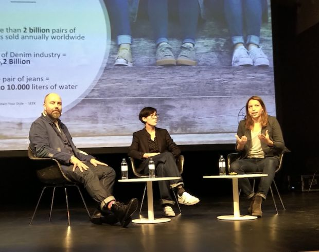 Talk round at Seek's Fashiontech Studio with Tony Tonnaer (Kings of Indigo), Sabine Kühnl (SPORTSWEAR INTERNATIONAL) and Mathilde Charpail (Sustain Your Style)
