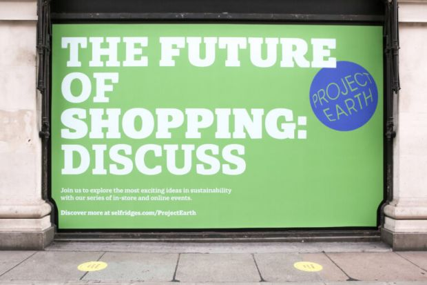 Selfridges' 'Project Earth' window at the launch in August 2020
