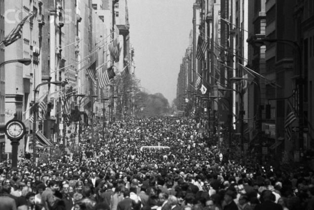 New York City's Fifth Avenue is filled with thousands of people when the street was closed to motor traffic for the First Earth Day on April 22, 1970. Image by Bettmann/CORBIS.