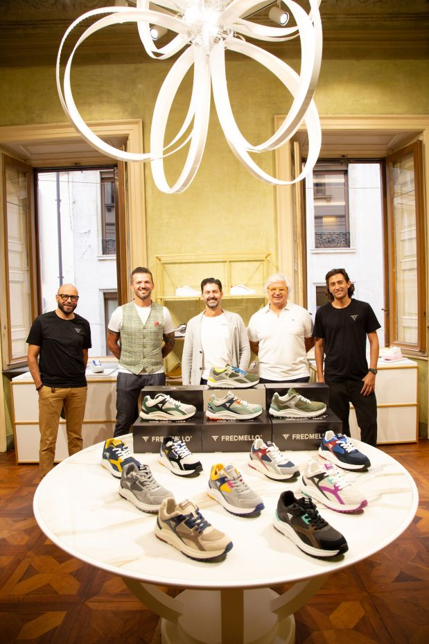 From left: Francesco Torresan (head of product, Nice Footwear), Alessandro Perletti (sales & marketing responsible, Nice Footwear), Bruno Conterno (president/CEO, Nice Footwear), Mario Stuppelli (owner, Fred Mello) and Riccardo Desto (tyle & product manager, Fred Mello).