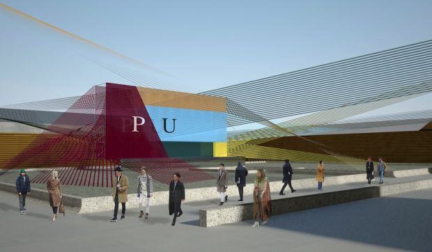 Rendering of Pitti Uomo's motto 'Show your flags' in January 2020