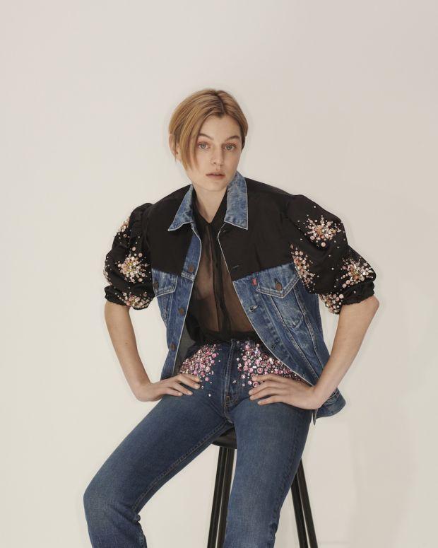 Actress Emma Corrin wearing Upcycled by Miu Miu x Levi's